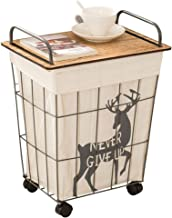 Laundry Basket Iron Clothes Basket Toy Storage Basket with Wheels Bathroom with Cover Dirty Clothes Storage Basket Lined with Removable And Washable Waterproof Laundry Bins,A