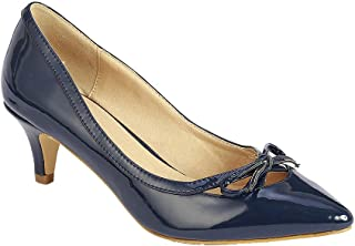 Coshare Women's Fashion Patent Bow Front Low Heel Pumps Navy 6 M US