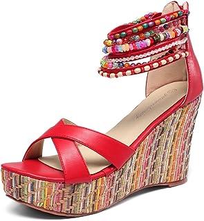 ed8315b5fab9c1 getmorebeauty Women s Wedge Sandals with Pearls Across The Top Platform  Sandals High Heels