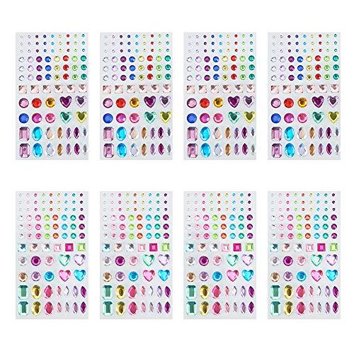 PandaHall Elite 8 Blatt Bunte Acryl Strass Klar Aufkleber für Nail Art Handy DIY Dekoration, Mischformen, 8~14x3~12x1.5~3mm, 4 Stück/Typ, 8 Stück/Set