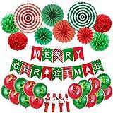 31pcs Frohe Weihnachten Ballon-Banner-Dekor-Set-Weihnachtspapier Fans und Papierblumen-Kugel-Set-Party-Rot Grün Latex Luftballons Weihnachten Klaps-Band-Armbänder for...
