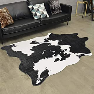 Cow Printed Area Rug 4.5x6.5 Black White Cowhide Leather Carpet for Home Large Size