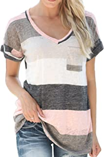 LINGMIN Women's Loose Fitting V Neck Plus Size Tunic Tops Color Block Striped Tee