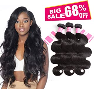 3 Bundles Deal Brazilian Human Hair Body Wave Hair Bundles 16 18 20 inch Cheap Brazilian Wavy Hair Weave 100% Human Hair Extensions 8A Grade Natural Black