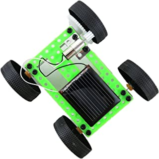 Newdiva 1Set Mini Solar Power Toy Car Racer - Plastic Car Kit Engineering Car Gadget Trick Novelty Educational Toy for Kids - DIY Manual Science Assembly Toy for Children