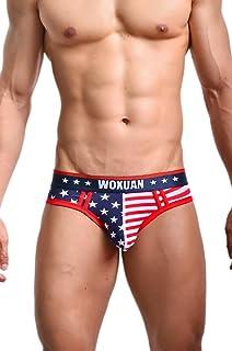 Evankin Men's Underwear,USA American Flag Sexy Boxers Briefs Soft Underwear