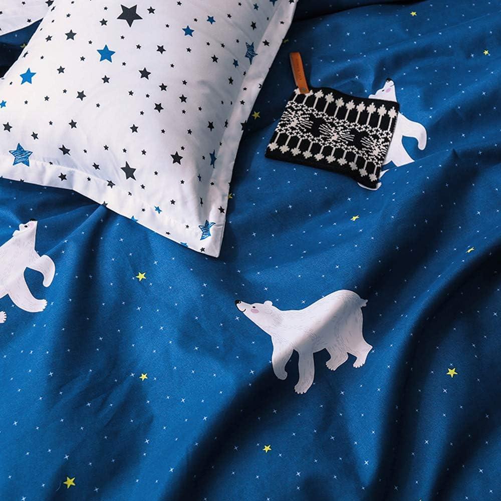 Queen Kids Bedclothes Cartoon Animal Boys and Girls Bedding Navy Blue and White Polar Bear Bedding Sets 1 Duvet Cover and 2 Pillowcase
