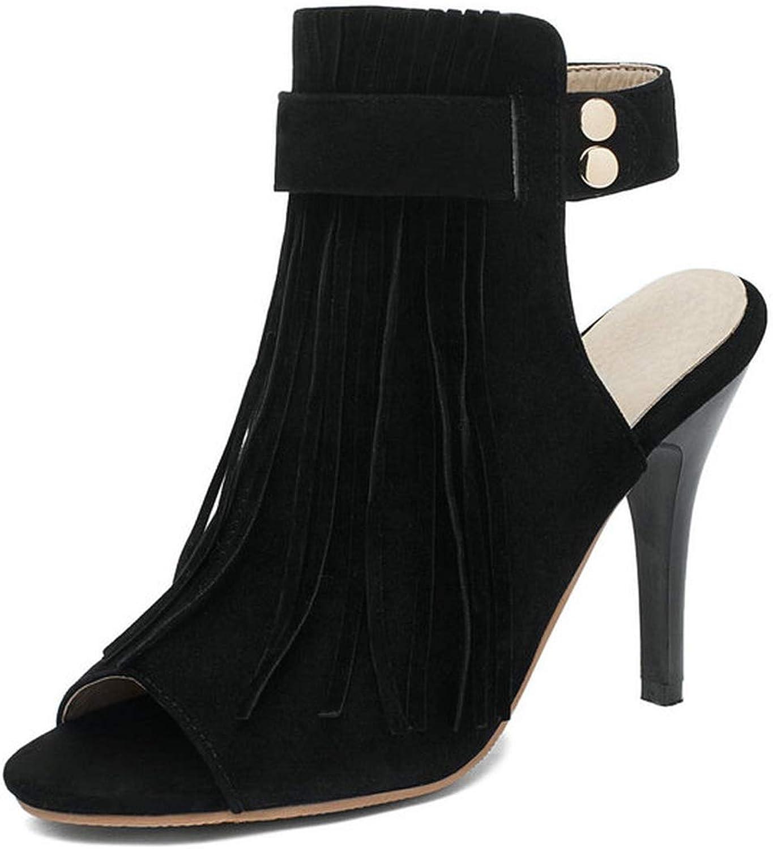 Small-Dream-Shop Sandals Women Pumps Fringe Women shoes Slingback All Match Stilettos Casual Sexy Peep Toe Pumps 34-43