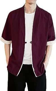 Men's Kimono Cardigan Linen Open Front Chinese Ethnic Style Yukata Coat Top