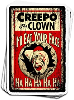 Jarky Love 3 PCs Stickers Creepo The Clown Coulrophobia Fear of Clowns 4 × 3 Inch Die-Cut Wall Decals for Laptop Window