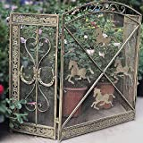 LIUSHI Barandilla de jardín Pantalla de Chimenea Floral Grande 3 Paneles Malla Decorativa de Metal de Hierro Forjado