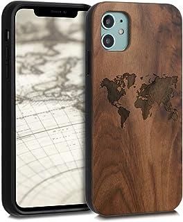 kwmobile Hülle kompatibel mit Apple iPhone 11 - Handyhülle Holz TPU Cover - Travel Umriss Dunkelbraun