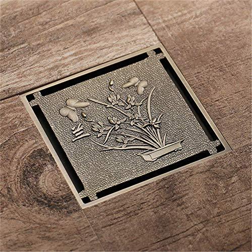 PLKZ Drainage vloer afvoer antieke messing vierkant vintage kunst gesneden vloer afvoer Cover douche afval afvoer badkamer accessoires afvoer beschermers