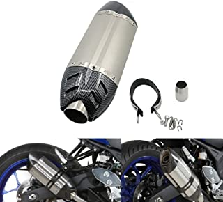 Alpha Rider Universal Motorcycle Carbon Fiber 51mm Slip-On Exhaust Muffler Exhaust Pipe For Yamaha MT-03 660 2006 - 2014 , FZ6 / FZ6 FAZER 2004 - 2011 Titanium