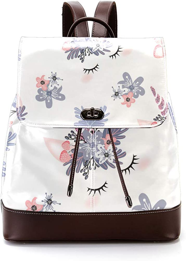 Unicon-With-Flowers PU Leather Backpack Fashion Shoulder Bag Rucksack Travel Bag for Women Girls