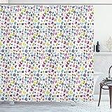 Ambesonne ABC Shower Curtain, Colorful Alphabet ABC Bubble Letters Doodle Style Fun Childish Nursery Design, Cloth Fabric Bathroom Decor Set with Hooks, 70' Long, Pastel Purple