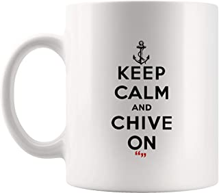 Keep Calm Chive On Leaf Mug Coffee Cup Tea Mugs Funny Gift Co-worker Boss Sarcasm Beer Cup Sarcastic Quotes Meme Humor Men Women Gifts Sayings Office Work