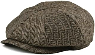CHENTAI Handmade Soft Wool 8 Panel Navy Herringbone Newsboy Cap Men 8-Quarter Style Flat Caps Women Beret Hat Tweed