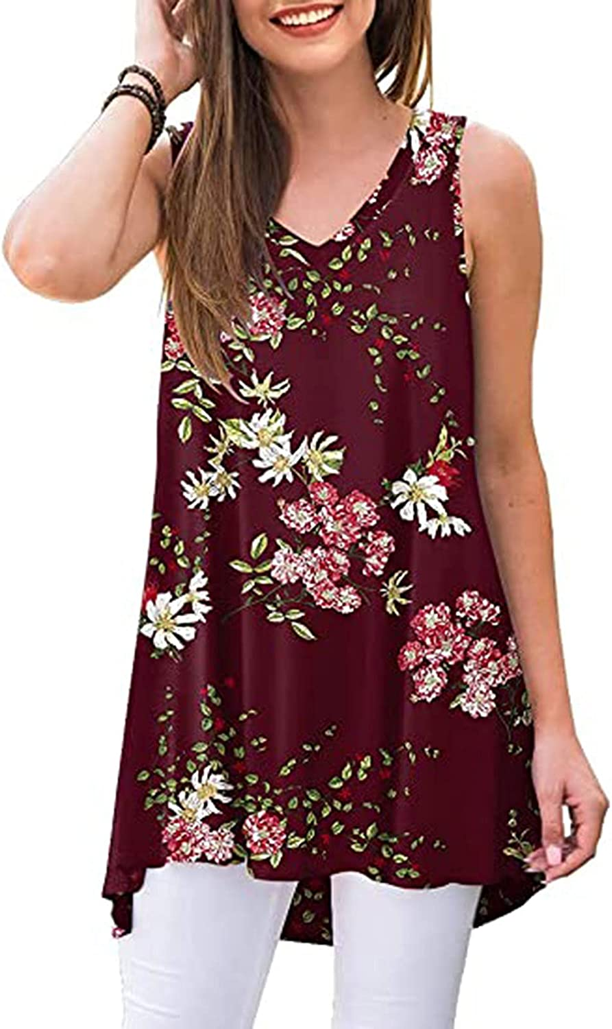 INESVER Women's Pleated Summer T-Shirt Blouses Floral Printed Sleeveless Tank Tops Casual Loose Camisole Vest
