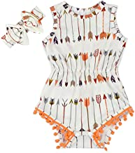 White Baby Rompers Girl - Arrow Pompom Baby Girl Clothes with Headband