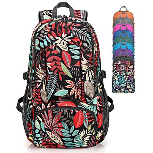 G4Free Mochila de senderismo impermeable de 40 l, ligera y plegable, con bolsillo húmedo para exteriores, senderismo, camping, viajes, ciclismo, vacaciones, Unisex, Hoja de arce roja
