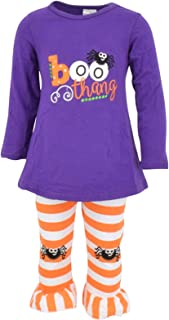 Girls Boo Thang Halloween Outfit with Spider Leggings