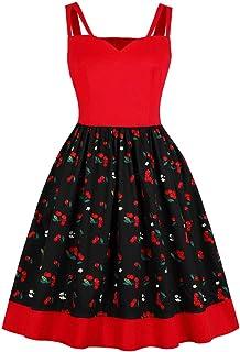 Wellwits Women`s Cutout Wide Strap Cherry Print Vintage Dress Swing Sundress