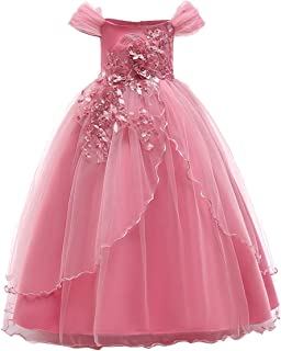 Flower Girl Communion Floor Length Wedding Dress Kids Princess Lace Formal Party Prom Maxi Gown