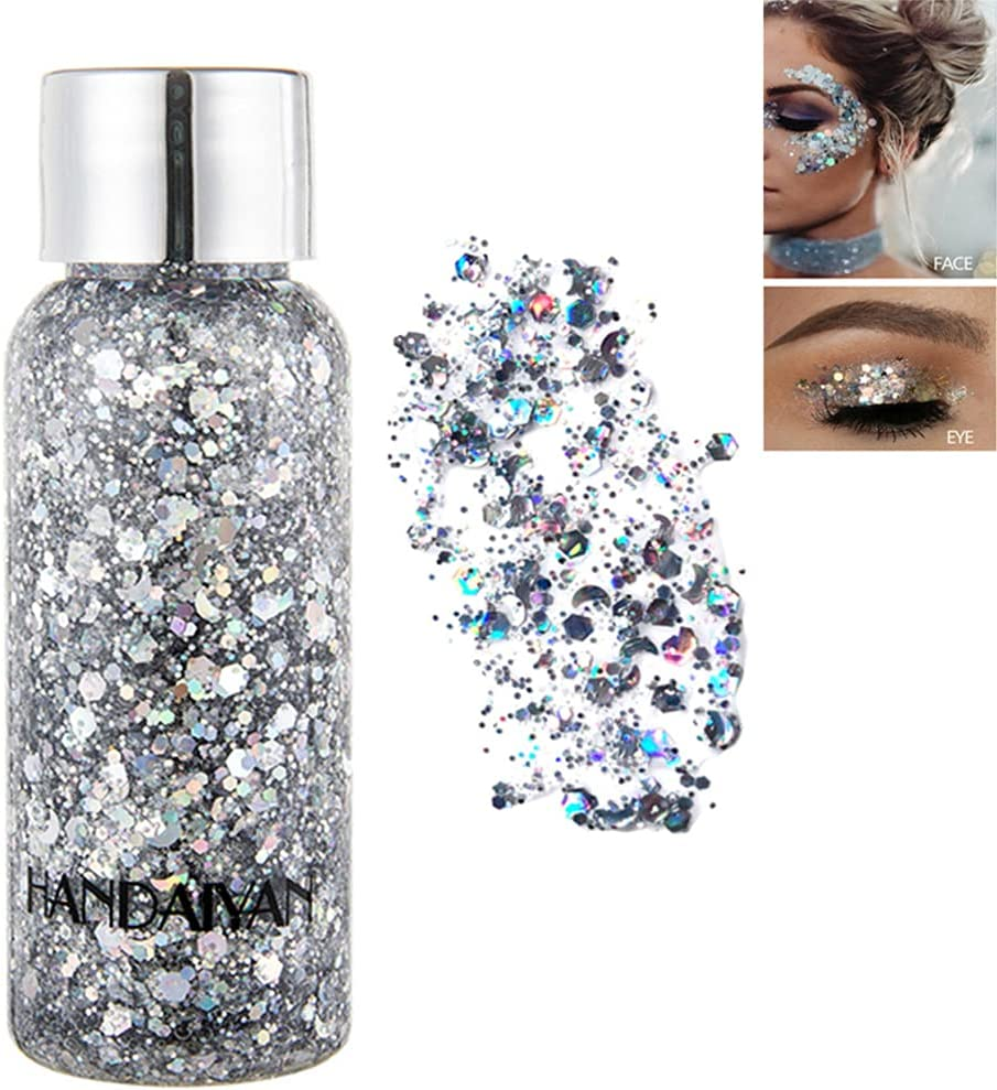 SEEWE Body Glitter Gel Mermaid Scale Sequins Skin Long Lasting Sparkling Cream Eyeshadow Lip Nail Hair Painting Glitter Decorate Art Festival Party Make up Powder (Silver) : Beauty & Personal Care