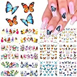 JMEOWIO Butterfly Nail Art Stickers Self Adhesive Water Transfer Nail Foils Colorful Flowers Butterflies Designs Nail Decals for Nail Arts DIY Nail Decors Manicure Tips Nail Supply(12 Sheet)