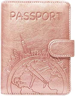 08f8dad58b85 Passport Holder Leather Travel Wallet - RFID Blocking Passport Cover with  Magnetic Closure for US Passport By Talent (Rose Gold - Map)