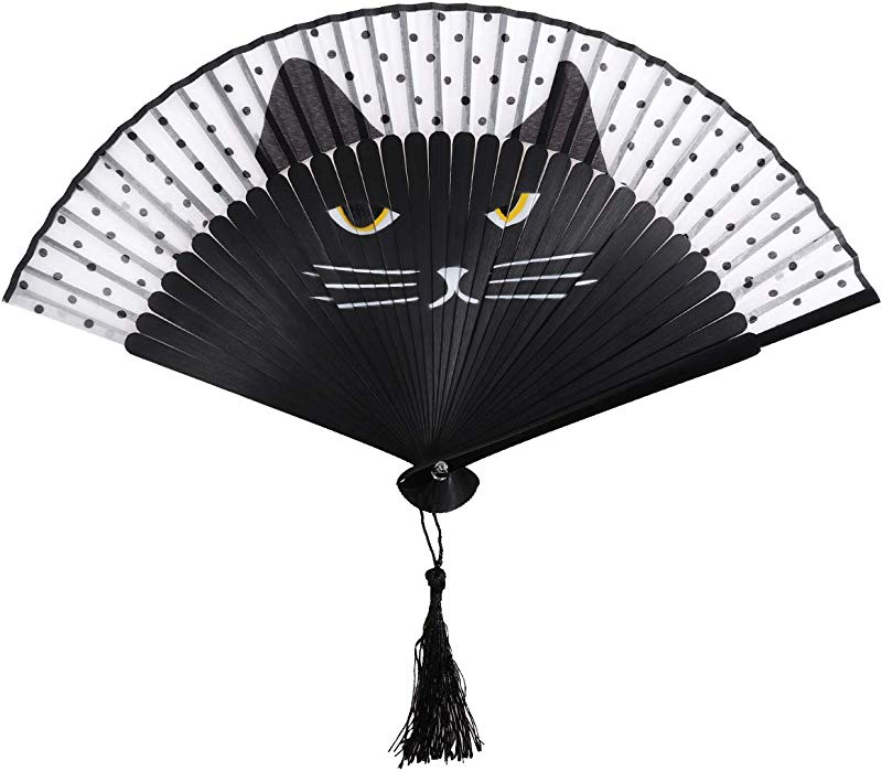 OULII Women Cartoon Cat Folding Silk Fan Handheld Fan Black