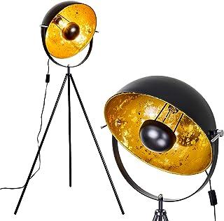 Lampadaire Saturn en métal avec un abat-jour orientable noir et or moderne de 43 cm de diamètre, pour une ampoule E27 max....