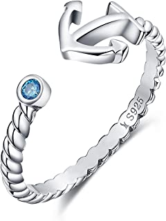 925 Sterling Silver Boat Anchor Blue Cubic Zircon CZ Ring Expandable Open Rings Adjustable Women Jewelry