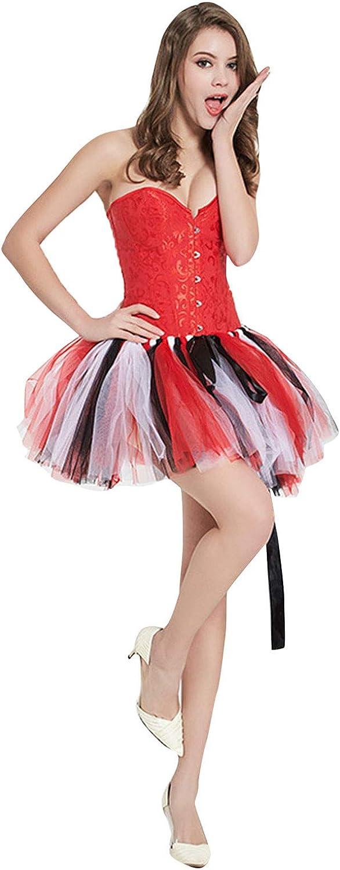 Sinohomie Gauze High Waist Short Skirt Rainbow Fold Skirt Layered Tutu Dancing Skirt 50s Vintage Ballet Bubble Dance Skirts