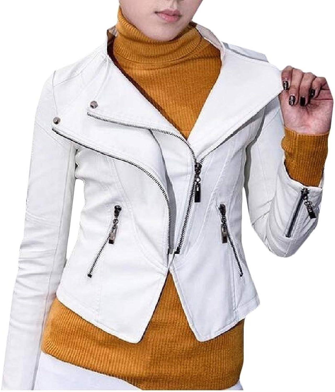 PandapangCA Women Slim Casual Zip Coat Biker Faux Leather Jackets