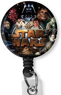 Star Wars Retractable Badge Reel with Alligator Clip,Name Nurse ID Card Badge Holder Reel, Decorative Custom Badge Holder