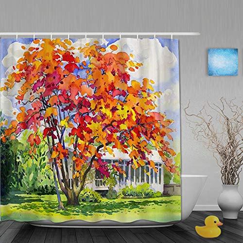 FAKAINU Duschvorhang,Aquarell-Landschafts-Originalgemälde Rotorange Farbe des Pfaus,mit 12 Ringen Waschbar Langhaltig Hochwertig,180 * 180CM
