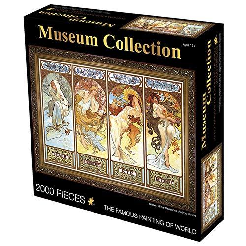 Puzzle Rompecabezas Europeos Pintura de Aceite - Cuatro Estaciones - 2000 Piezas Grandes de 27,5 por 39 Pulgadas Rompecabezas - Único Cortar Piezas entrelazadas (70x100cm)