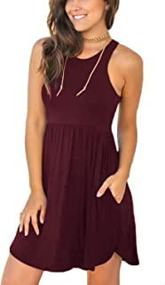 0bbebc402 Unbranded Women's Sleeveless Loose Plain Dresses Casual Short Dress with  Pockets