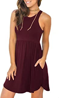 Unbranded Women's Sleeveless Loose Plain Dresses Casual Short Dress with Pockets