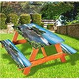 LEWIS FRANKLIN Cortina de ducha balinesa mesa de picnic y banco de mantel ajustable, en la isla de Bali de borde elástico, 28 x 72 pulgadas, juego de 3 piezas para mesa plegable