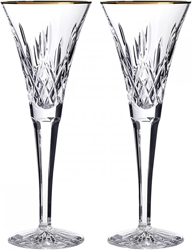 Waterford Lismore Gold Toasting Flute Pair