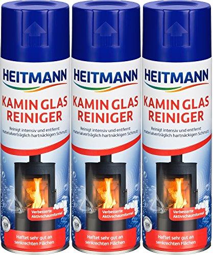 Heitmann Kamin Glasreiniger, 3er Pack (3 x 500ml) + Davartis Schmutzradierer/Putzschwamm 10er Pack (1x 10 Stk.)