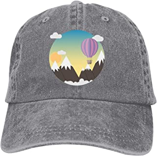 LeoCap Hot Air Balloon Baseball Cap Unisex Washed Cotton Denim Hat Adjustable Caps Cowboy Hats