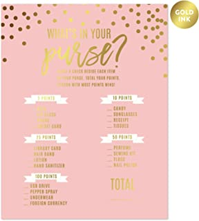 Andaz Press Blush Pink and Metallic Gold Confetti Polka Dots Wedding Party Collection, What's in Your Purse? Bridal Shower Game Cards, 20-Pack