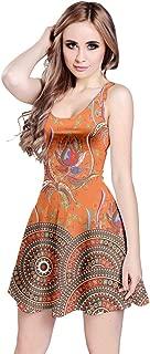 orange aztec dress