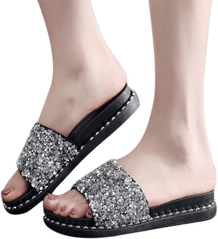 MEIZOKEN Women Flip Flops shoes Summer Sexy Slippers Sequined Platform Sandals Glitter Slippers Sandals Slip-on