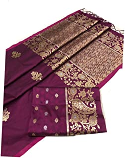 GRAB MANTRA SILK AND COTTON SAREES Traditional silk wine color with sliver and gold mix zari design and unstitched blouse