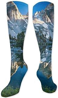 Calcetines de poliéster y algodón por encima de la rodilla, retro, unisex, para muslo, cosplay, botas, tubo largo, para deportes, gimnasio, yoga, naturaleza, lago, reflexión y niebla
